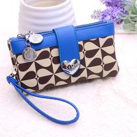 Day clutch 2014 female fashion color block zipper heart wallet clutch women's handbag clutch bag small bag with handle