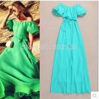 2014 Europe Fashion sexy slash neck Puff Sleeve dress woman maxi dress evening dress party dress green pink yellow blue