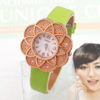 Fashion Watches New 2014 Clock Flower Women Rhinestone Watch Quartz Analog Vintage Wristwatches Montre Femme women Dress watch