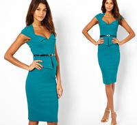 2014 New Summer Women Elegant Peplum OL Career Back Zipper Knee-Length Party Casual Dress CD1343