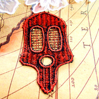 Water soluble applique patch sewing accessories embroidered Skull patches for clothing decoration lace fabric applique