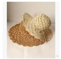 Summer 2014 bow sweet hollow collapsible sun hat visor big straw sun hat female hat