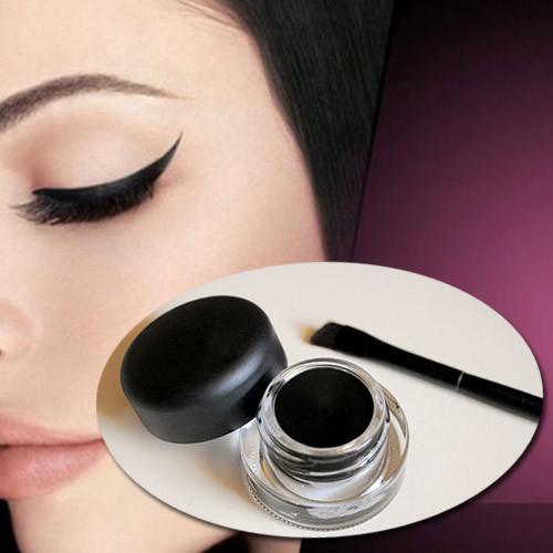 Free shipping Black Eyeliner Gel Makeup Cosmetic Eye Liner + Brush 1 Set Wholesale(China (Mainland))