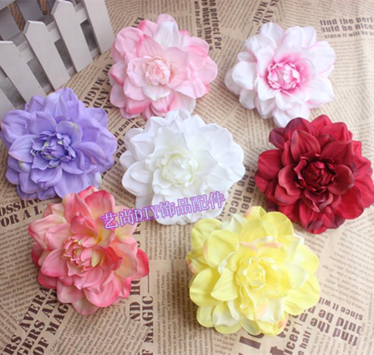 20pcs 6 Color Dahlia Silk Flower Artificial Flower Head Diy Hair Accessory Hat Clothes Decoration For Wedding Supplies Flower(China (Mainland))