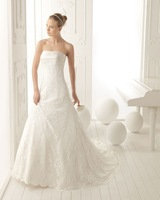 2014 High Quality New Arrival Luxuriou Elegant A-Line Women Strapless Backless Lace Appliques Wedding Dresses Bridal Gowns