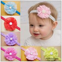 New 2014 Pearl Flower Baby Girl Headband Kids Hair Accessories Children  Elastic Satin Hair Band,FS242+Free Shipping