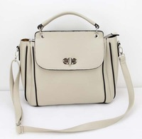 H009(beige)Fashion vintage women handbag,Two function,pu leather bag&1 shoulder straps,7 different colors,31x25cm,Free shipping!