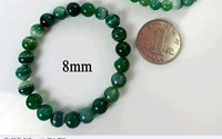 F08713 Unisex Natural Green Jade Agate Gemstone 8mm Beads Bracelet +freeshipment