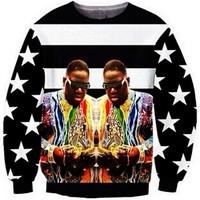 2014New men women's 1991inc Flag Memorial BIGGIE.LOGO. Star print Pullover galaxy simple hip-hop 3D Sweatshirts Hoodies crop Top