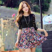 Новая осень-зима пуловер женщин Корейский моды стиль мило цветочные печати вязаный свитер длинный sleeve100
