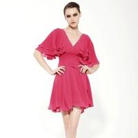 9120 fashion elegant chiffon ruffle deep V-neck sexy one-piece dress