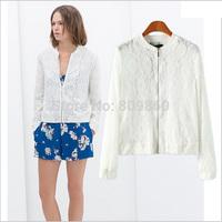 2014 women autumn Super beautiful lace fashion style flight jackets free shipping