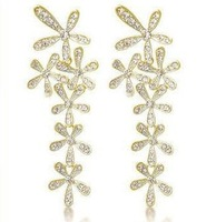 Long design earrings personalized all-match full rhinestone flower tassel stud earring earrings