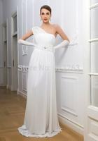 Full Length Informal Chiffon One Shoulder Wedding Dresses Beach Bridal Gown Beaded Belt FY050