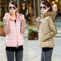 Sau San winter jacket Hooded stitching Short Long sleeve Down Padded Coat  L-XXXL