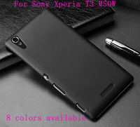 Free Shipping 1pcs Matte Frosted Hard Black Case Skin Cover For Sony Xperia T3 M50W Mobile Phone 8 colors