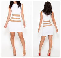 Hot Sale 2014 Spring Summer Autumn New Fashion Close fitting White one-piece Dress Mini Gauze Perspectivity Free Shipping km107