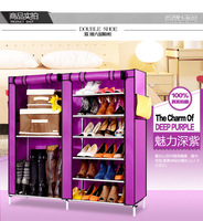 Deep Purple non-woven fabric dustproof and wet proof two- double utility shoes cabinet  storages racks folding