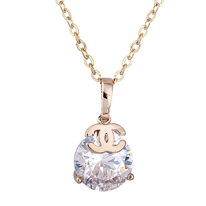 Luxury CZ Diamond CZ Stones Round Diamond Brand Logo Pendant, 18K Gold Plated Pendant Necklace Y50 MZ106#M5(China (Mainland))