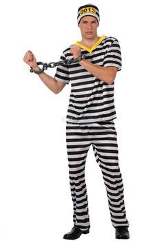 Оптовая продажа - 2014 Новый стиль карнавал косплей костюм ну вечеринку одежда для взрослых заключенный трикотажный костюм с брюками и шляпа
