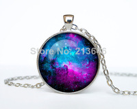 1pcs NEBULA Pendant Galaxy Necklace Turquoise White Jewelry Necklace for him Art Gifts for Her Glass Cabochon Necklace A0078