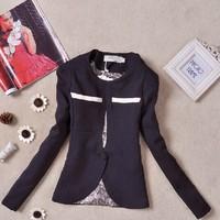 New 2014 autumn Basic Jackets Women Blazer suit quality slim ol patchwork outerwear woolen blazer women fashion suit