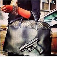 Fashion vlieger vandam gun bag PU leather black pistol handbag large cartoon gun style shoulder bag free shipping