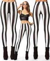 New Women Sexy Stripe  Gothic Rock Legging Punk Fitness  Woman Pants 036