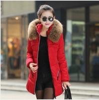 New 2014 jacket winter coat thicken Slim female raccoon fur collar and long coat women parka winter coat plus size S-4XL C1881