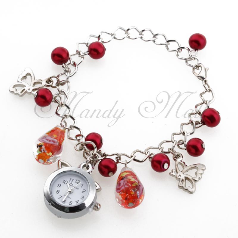 Women Lady Bracelet Quartz Wristwatch Chain Red Faux Pearl Arabic Numerals(China (Mainland))