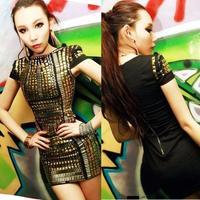 New Women Sexy Celebrity  Cotton Full Studded  Dress Bandage Midi Dress  Club Pencil Dress With Lining 925