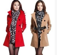 Free Shipping winter women's stand collar korean sashes cashmere wool woolen long coat trench overcoat abrigos mujer M L XL XXL