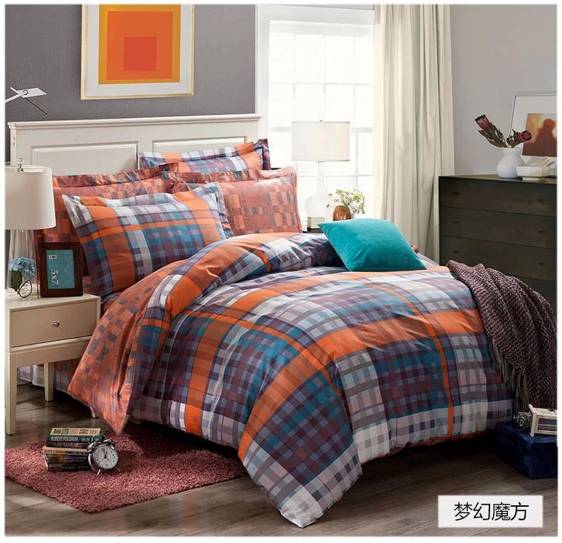 Dreaming blue grey black orange plaids bedding set cotton - Orange and grey comforter ...