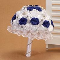 dark blue mixed white rose wedding bouquet beautiful  bride bouquet wedding dress accessories