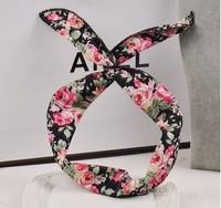 2014 new fabric floral colorful cute bunny ear rabbit ear metal wire DIY bow headband hairbands