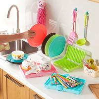 Foldable Bilayer Drain Shelf Dish Rack Multifunction Antibacterial Cutlery Rack Size 20*18*6.5cm White Blue Pink Green A447