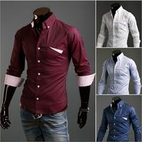 2014 Brand New Style Design Mens Shirts High Quality Casual Slim Fit Stylish Dress Shirts 3 Colors CS510