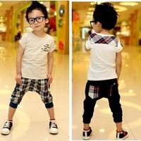 Summer England Pure cotton Children Clothes Kids Set White t shirt+cell Harem pants 2pcs boys suit Baby Casua Set 1set Retail