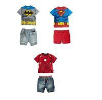 Summer boys suit   Batman/Superman/Iron Man clothing set  Kids Clothing Sets  children suit Free shipping  Retail SS286