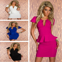4 Color M L XL Plus Size New European Fashion Women clubwear dress Popular Elegant Bodycon Peplum ruffle Dress Casual Dress