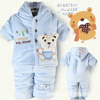 Baby Boys Suits 2pcs Winter Warm Hooded Coat Warm Pants Free Shipping K0038