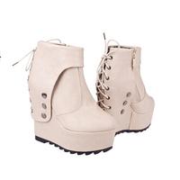 New winter shoes short boots Europe wedge thick bottom rivet platform shoes high heels Martin short E11