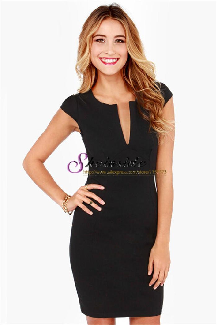 New hot vente 2014 été, dernières créations célébrité des femmes de marque de mode noir col v manches courtes minces. bodycon robe sexy