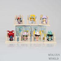 Free Shipping Anime Saint Seiya Egg Box Q Version The Gold Zodiac PVC Action Figures Toys 7pcs/set