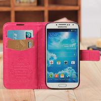 Luxury wallet leather case for samsung galaxy s4 i9500 with credit card holder flower curve 8 colors available