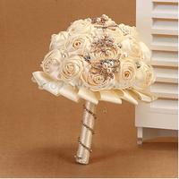 Popular  beige silk rose wedding bouquet Luxurious bride bouquet wedding dress accessories
