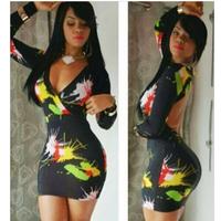 Free shipping 2014 Fashion women sexy V-neck night club clubwear dress full sleeve Mini dress Size S M L