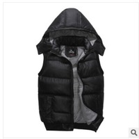 New Fashion Autumn Winter Thicken Down Vest Men Detachable Hoodie Sleeveless Solid Jacket Warm Padded Casual Coat