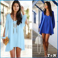 2014 New Brand Summer Sexy Club Women's Dresses Loose Strapless A-line Casual Chiffon Mini Plus Size Dress