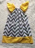 gray chevron yellow polka dot baby girl pillow dress